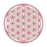 Blume des Lebens Symbol Rot Weiß 1