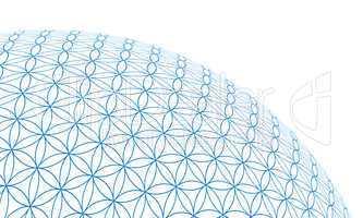 3D Kugel in Ecke - Blume des Lebens - Blau Weiß