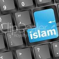 islam word on conputer key on enter button
