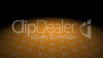 Boden mit Textur - Blume des Lebens - Orange Silber