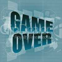 game over message on touch screen