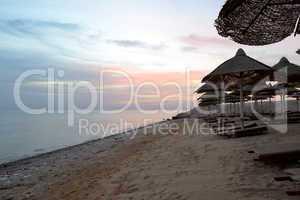 Sunrice and beach at the luxury hotel, Hurghada, Egypt