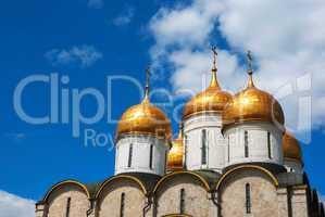 Dormition Cathedral domes at Moscow Kremlin