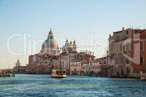 Basilica Di Santa Maria della Salute with vaporetto floating at