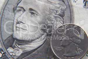 Ten dollar bill detail