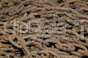 Heap of rusty chains