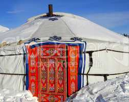 Yurt from Mongolia in winter
