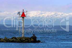 Channel Marker with Mountains