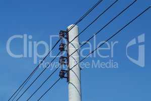 Electrical wires and iron pole