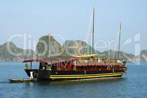 Traditional Vietnamese junk boat