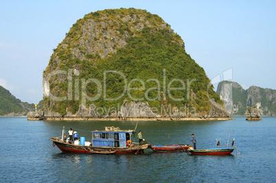 Fishermen in Halong Bay Viet Nam