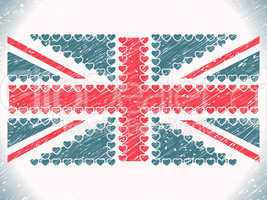 union jack hearts grunge flag