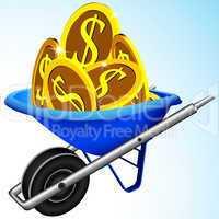 wheelbarrow and money