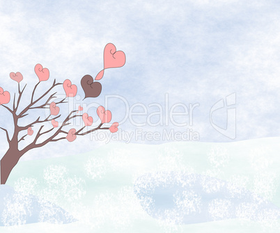 Tree with hearts against the cloudy sky