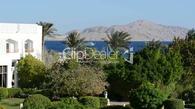 Restaurant and outdoor decoration of the luxury hotel, Sharm el Sheikh, Egypt