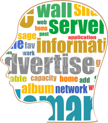 Word cloud, tag cloud text business concept and arrangement for human resource