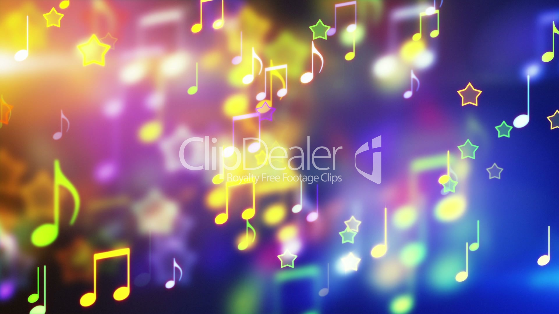 Shiny Notes And Stars Looping Party Background Royalty