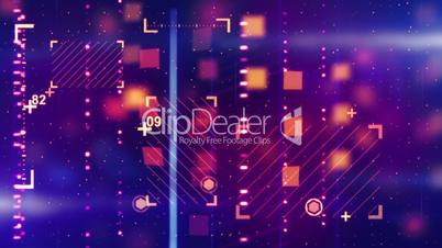 shiny blue orange abstract tech background loopable