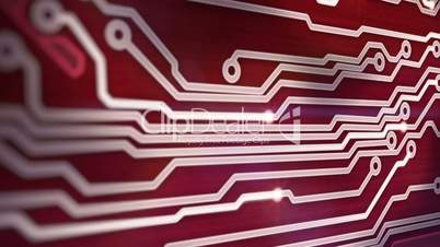 red circuit board providing signals 3d animation