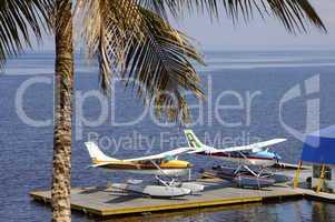 Water planes on a pontoon bridge