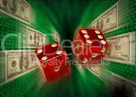 Red dice flying past $100 bills