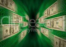 $100 bills flying through a green v