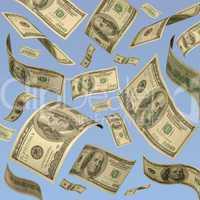 One hundred dollar bills floating a