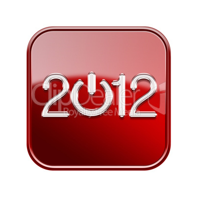 Year 2012 icon glossy red, isolated on white background