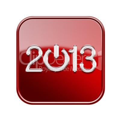 Year 2013 icon glossy red, isolated on white background