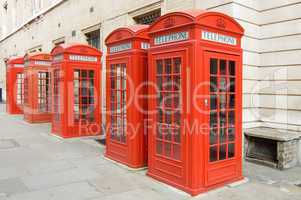 Row of Red telephone booths, London
