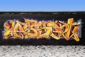 Graffiti on a wall at the beach