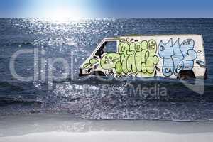Graffiti on a box van