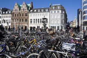 Street scene with bicycles in Copenhagen