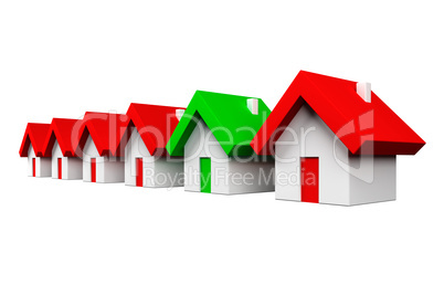 Row of red houses with one green -