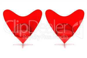 Heart shaped red chairs
