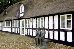Old romantic thatched farmhouse