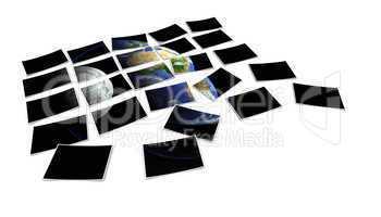 Fotoabzüge verteilt - Unsere Erde und der Mond