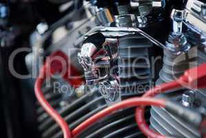Chrome skull on motorbike engine
