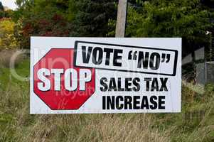 Vote no protest sign