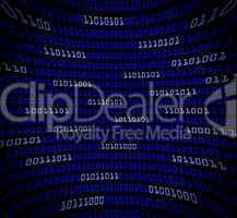 Blue digital code distorted