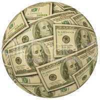 Cash Ball of $100 bills