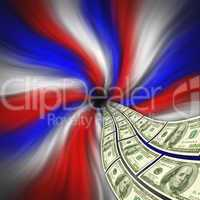 Flowing American currency for finan