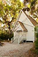 Little white chapel (Mary's Chapel) at Spansih Point Museum, Osprey, Florida
