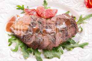 crunchy duck's breast with orange and rucola