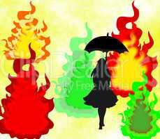 Black silhouette of a girl with an umbrella on abstract bright colorful background