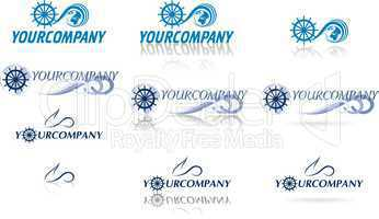 collection of globe logos for yachting and air travel