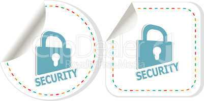 Padlock sticker icon set. ultimate security concept
