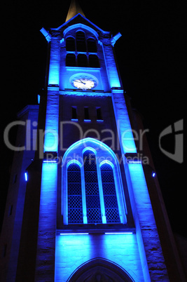 France, church of Les Mureaux at night
