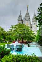 Fountain in front of the Mormons' Temple in Salt Lake City, UT