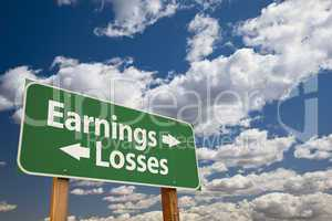 Earnings, Losses Green Road Sign Over Clouds